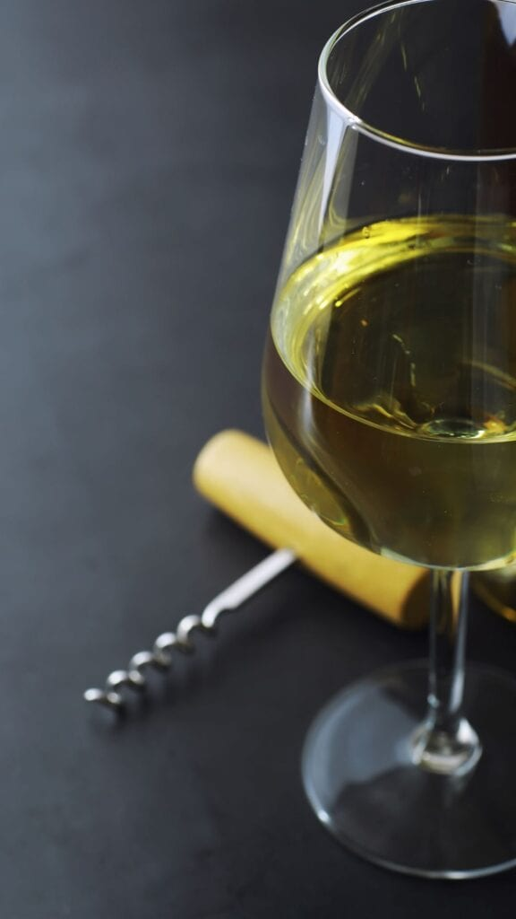 Dry white wine in a glass
