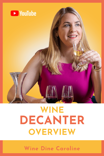 wine dine caroline sipping a glass of white wine in a purple dress. it is a poster for her youtube video wine decanter overview. the background is yellow